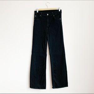 high waist stretch soft cotton wideleg black denim